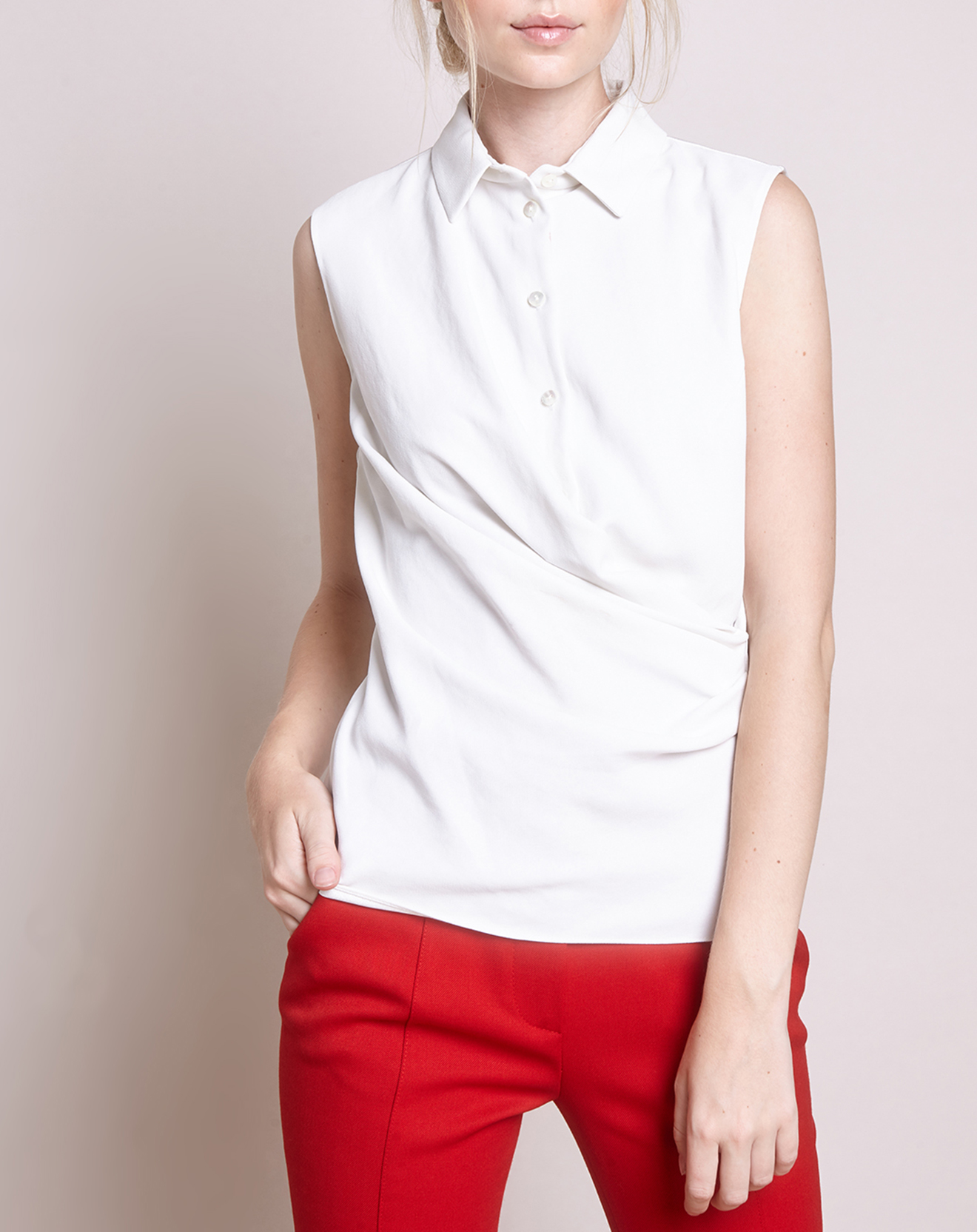 Chemise drapée blanche