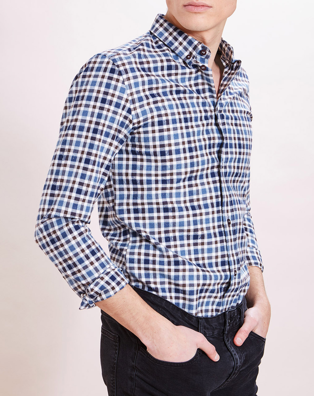 Chemise droite Imprimée bleu acier