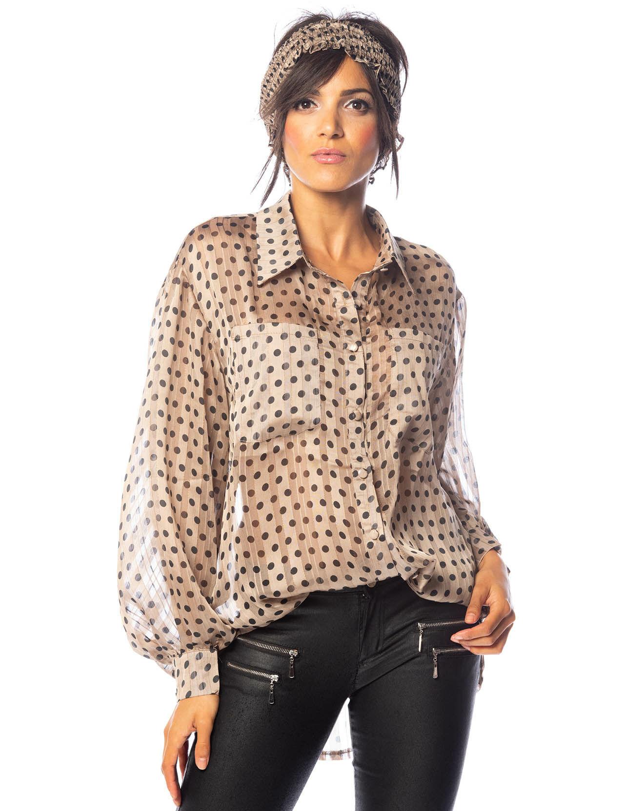 Chemise Tristin à pois beige/noir