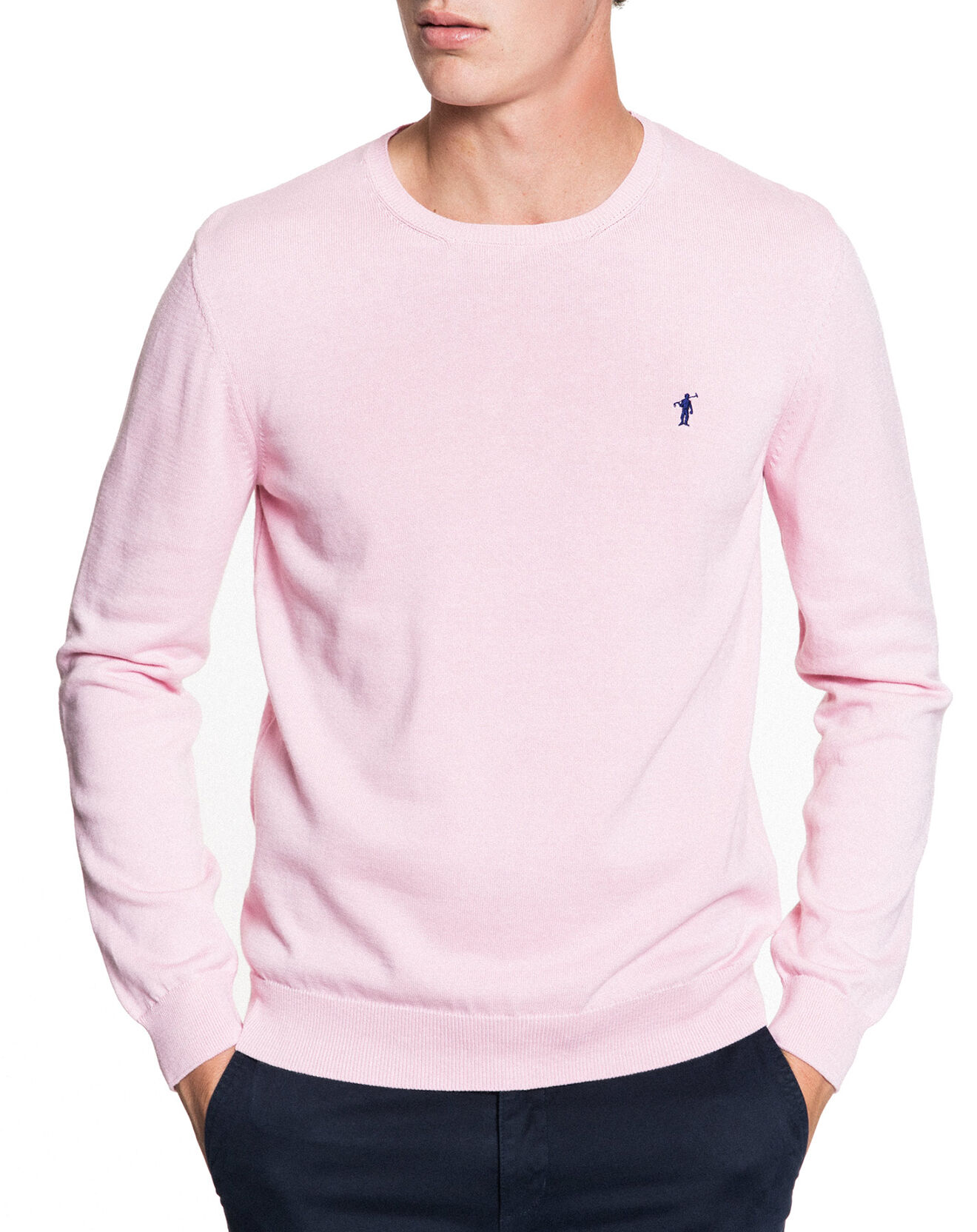 Pull col rond uni Rigby rose