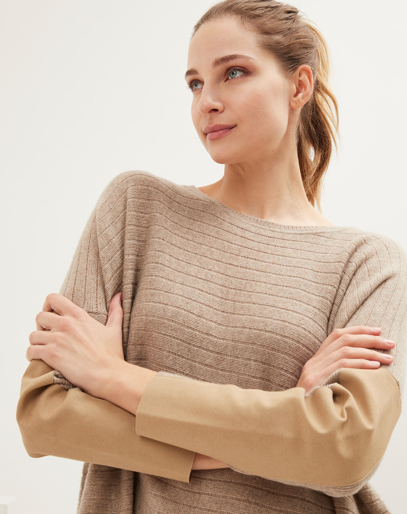 Pull ample bimatière 100% Cachemire col rond taupe chiné/taupe